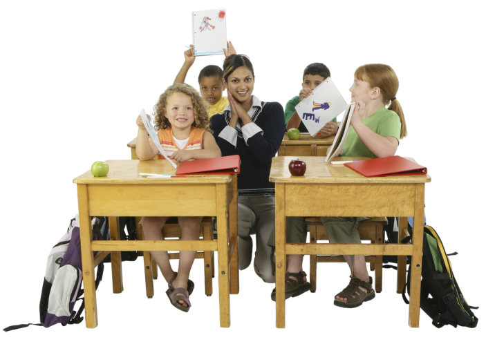 No-Back_Latin-teacher-smiling-in-between-kids-at-desks-showing-off-their-work